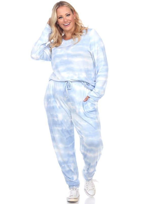 2 Piece Sleepwear Lounge Set - Plus - Blue Tie Dye - Front