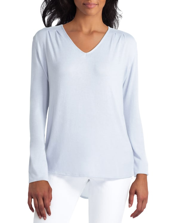 H Halston Mix Media Pullover With Extend Shoulder