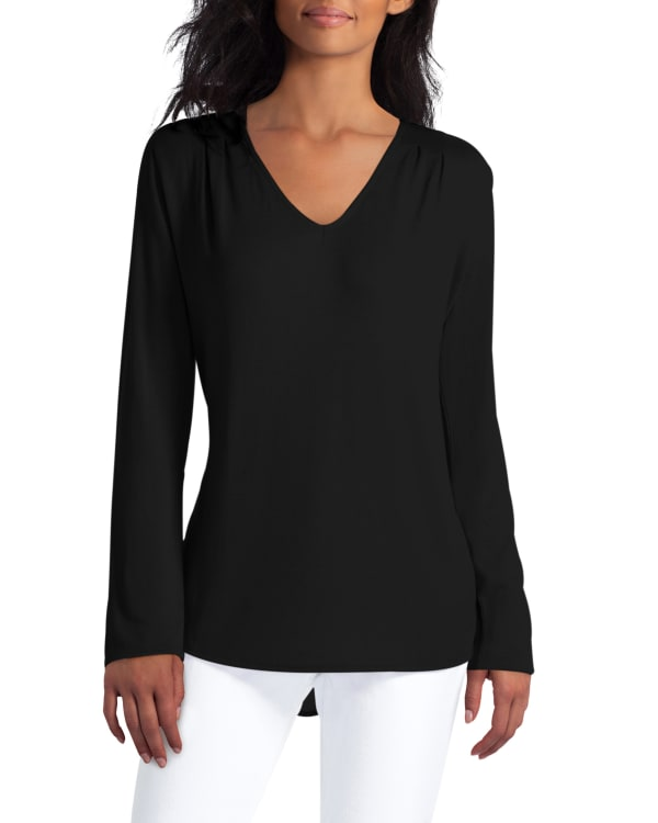 Mix Media Pullover With Extend Shoulder H Halston