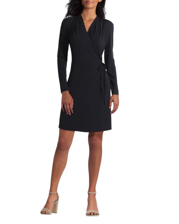 H Halston Long Sleeve Wrap Dress - Black - Front