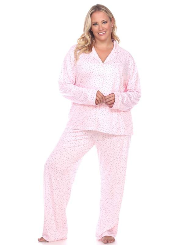 Long Sleeve Top Full Length Bottoms Sleepwear Pajama Set - Plus - Pink - Front