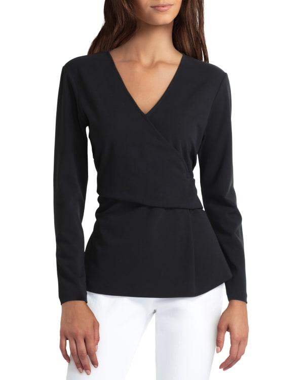 H Halston Long Sleeve Surplice Pullover - Black - Front