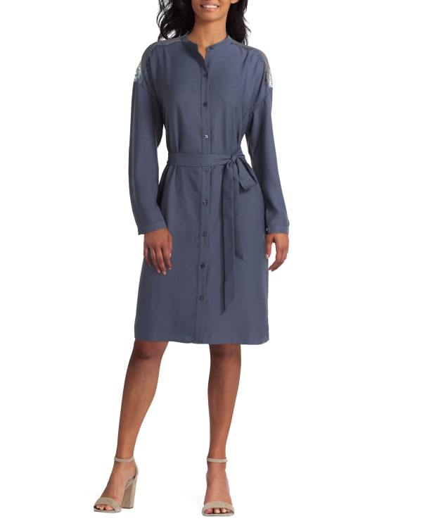 Long Sleeve Shirt Dress with Lace Trim H Halston