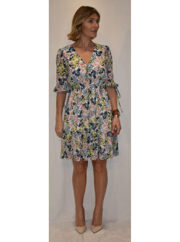 Floral Print Dress with smocked waist - Ivory True Blush - Front