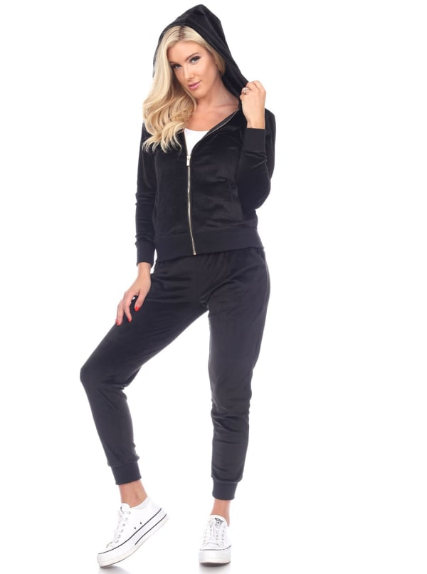 2 Piece Velour Fitted Style Tracksuit Set