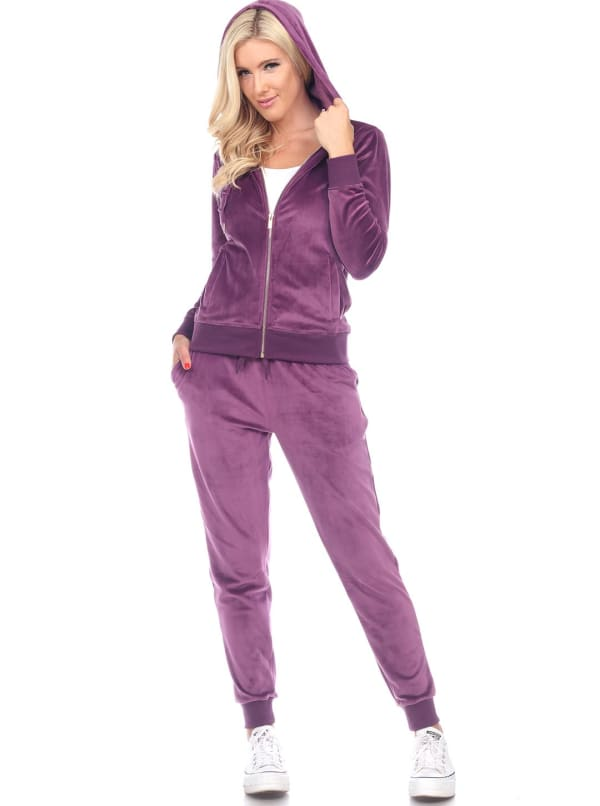 2 Piece Velour Fitted Style Tracksuit Set - Purple - Front