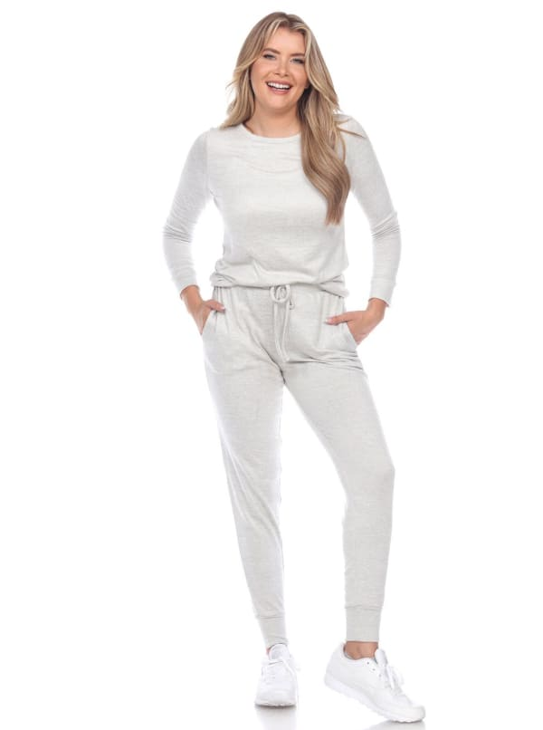 2 Piece Long Sleeve Top and Full Length Pants Lounge Set