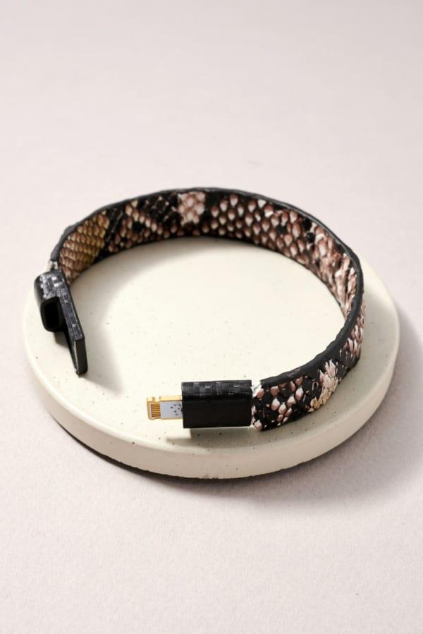 Snake Skin PU iPhone Charger Bracelet - Snake Brown - Front
