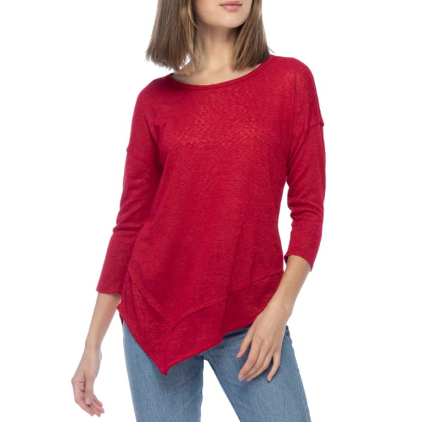 Asymmetrical 3/4 Sleeve Knit Top - Tango Red - Front