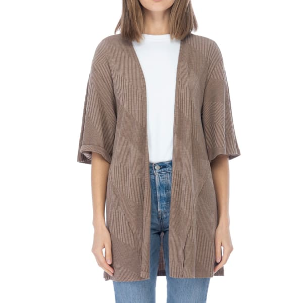 Short Sleeve Novelty Loose Fitted Cardigan - Mocha - Front