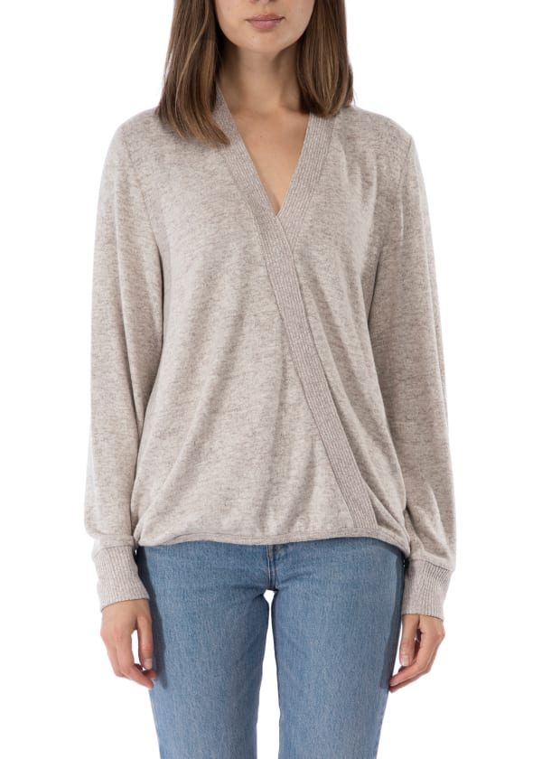 Cozy Surplice Top - Heather Oatmeal - Front