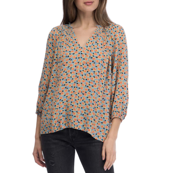 3/4 Sleeve Smocked Neck Blouse - Teal / Mauve - Front