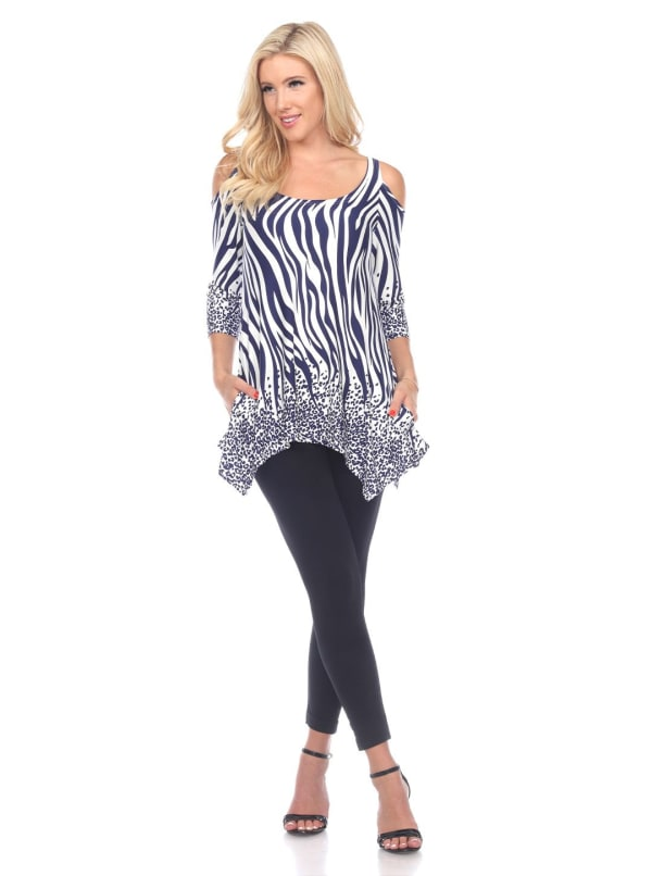 Printed Rich Colors Cold Shoulder Tunic - Navy / White - Front