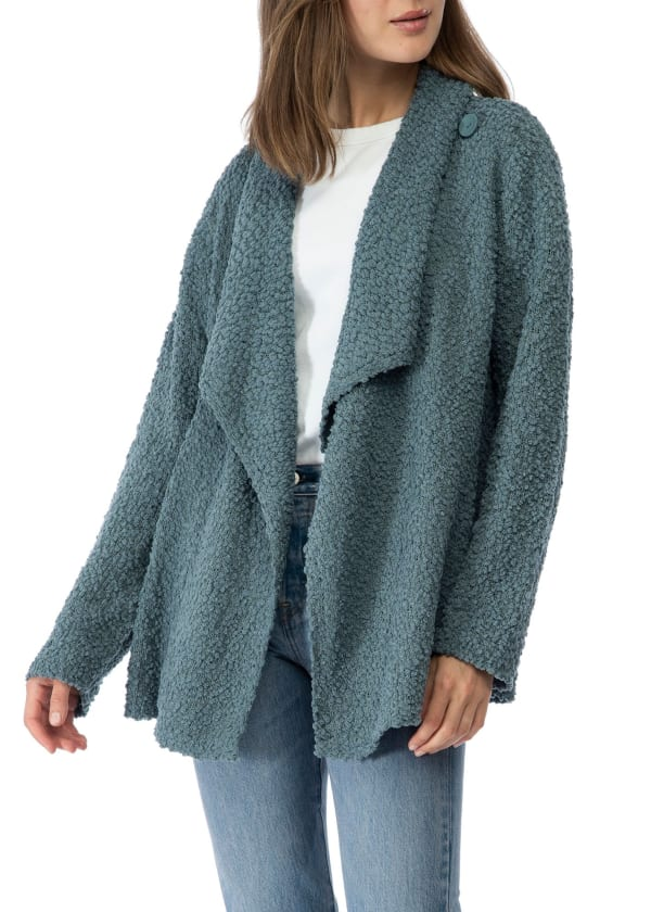 Boucle Popcorn Long Sleeve Cardigan - Light Peacock - Front