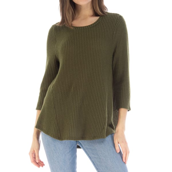 3/4 Crew Neck Top With Seam Detail