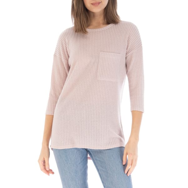 Cozy Waffle Stitch Pullover With Pocket