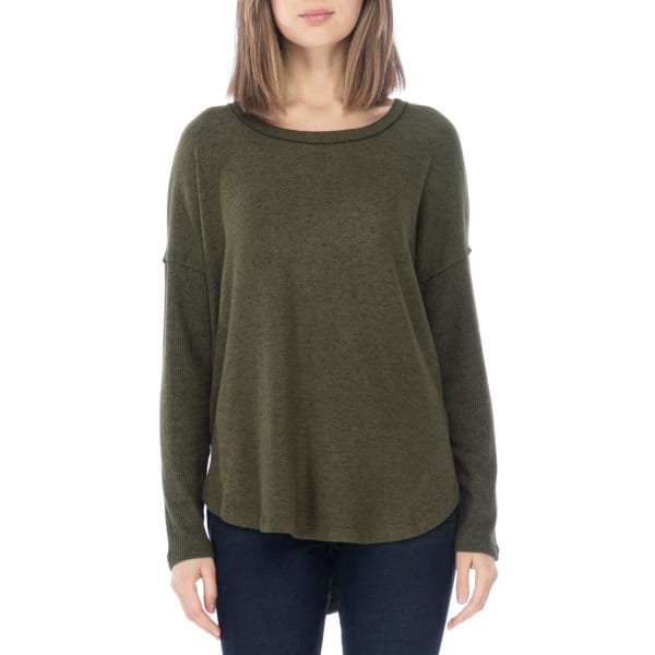 Bartie Long Sleeve Knit Top - Dark Olive - Front