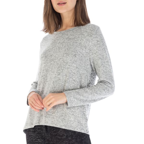 Long Sleeve Cozy Top - Heather Grey Leopard - Front