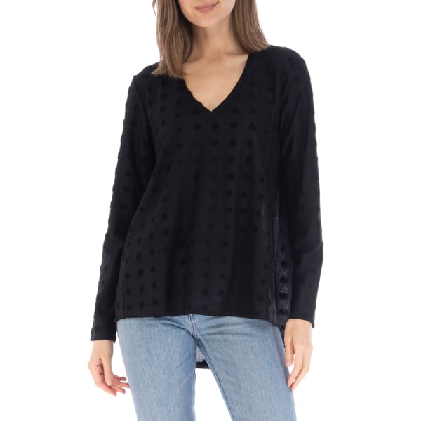 Long Sleeve Top With Forward Side Seams - Black Hearts - Front