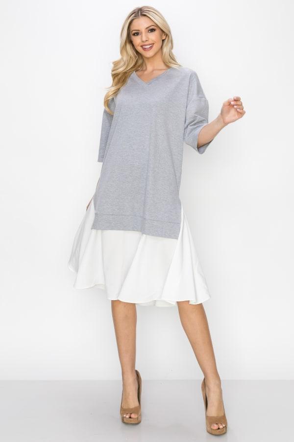 Rena Dress - Heather Grey / White - Front