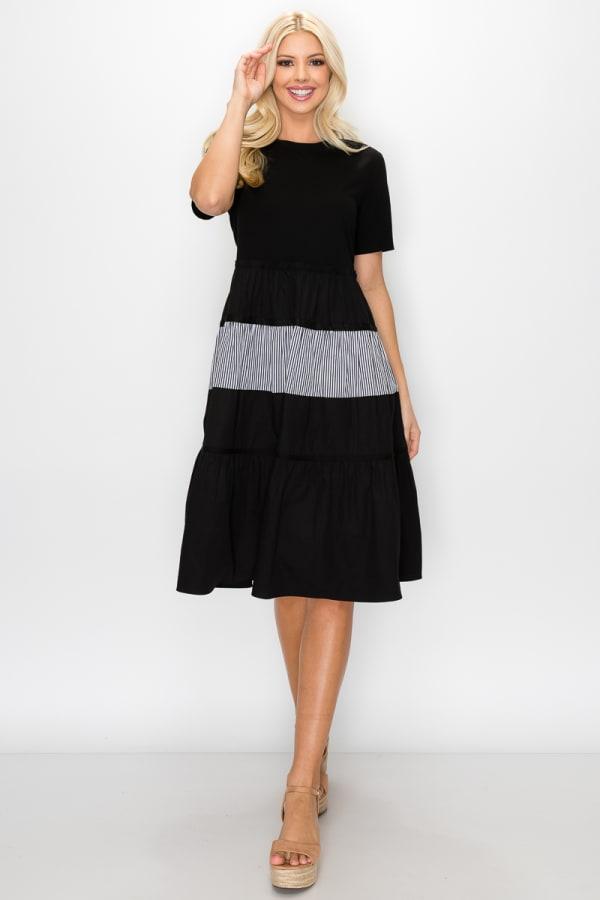 Kaelyn Dress - Black - Front