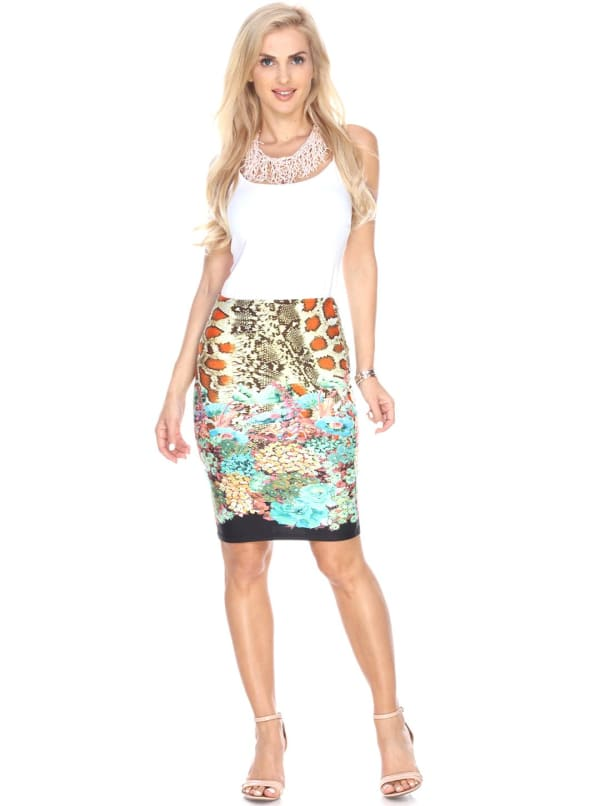 Printed Fitted Pencil Skirt