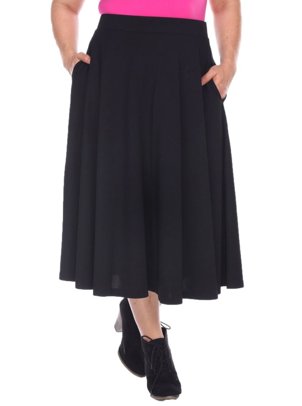 Flared Midi Skirt With Pockets