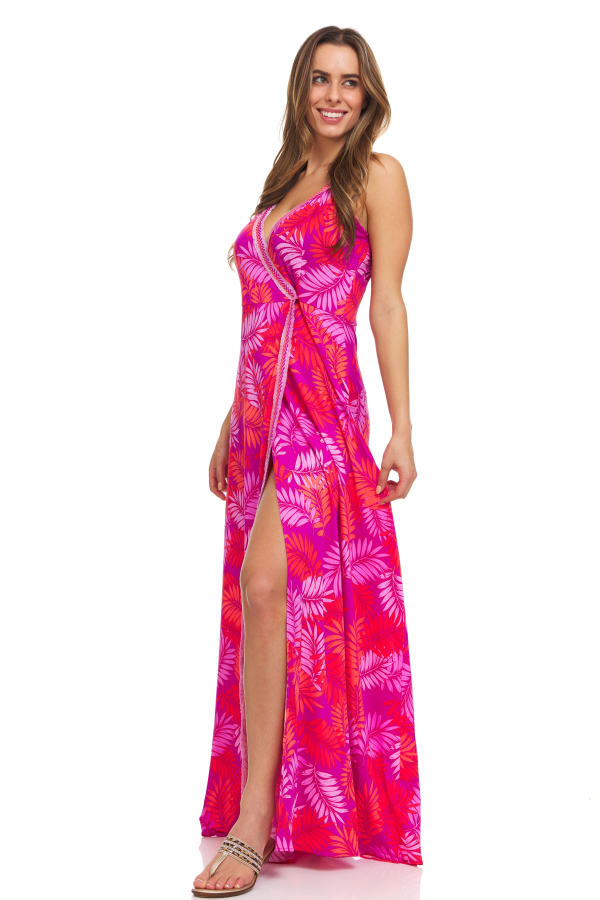 Pink Palm Maxi Dress - Tropical Leaf - Front