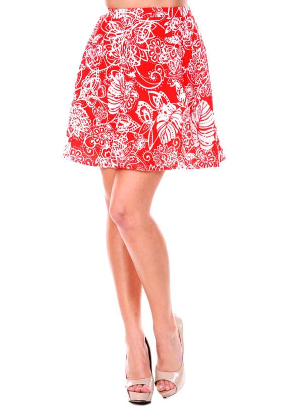 Heidi Leaf Flared Mini Skirt