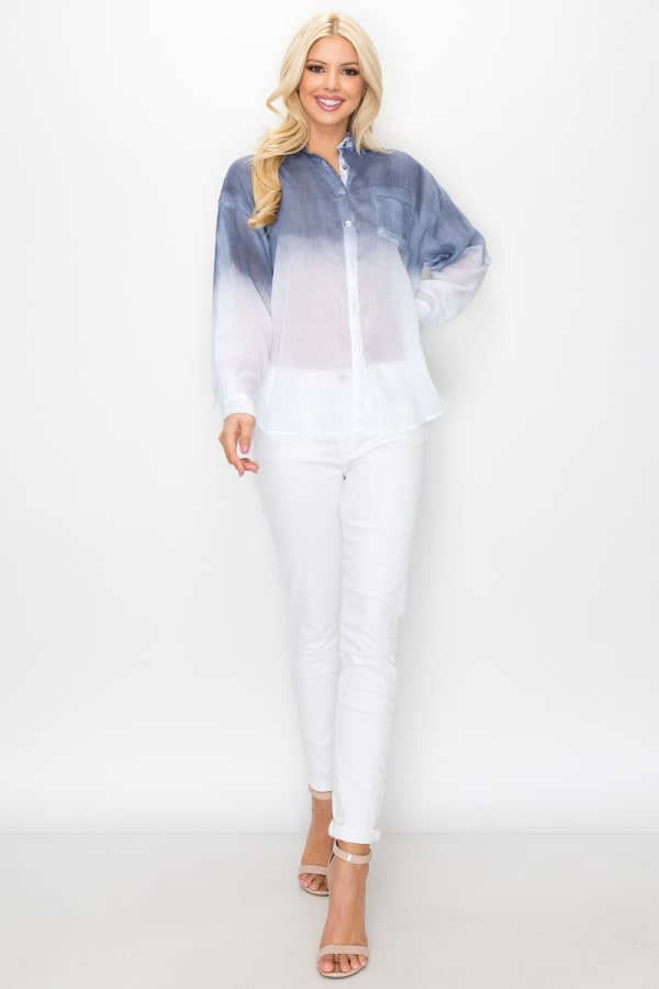 Willow Hand Dip-Dyed Shirt - Navy - Front