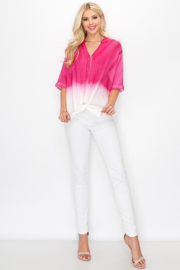 Wineva Hand Dip-Dyed Shirt - Fushia - Front