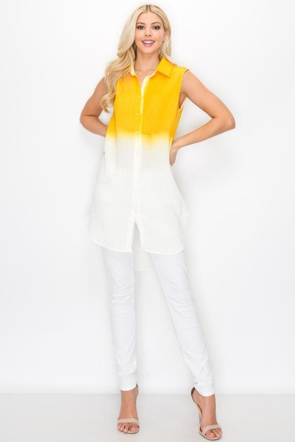 Wren Hand Dip-Dyed Shirt - Sun - Front
