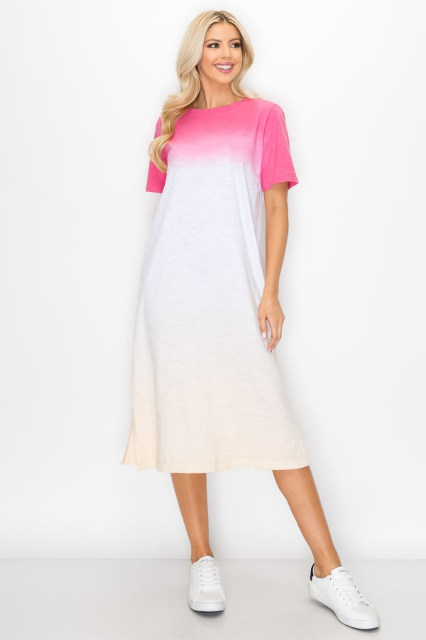 Cait Hand Dip-Dyed Dress - Pink / Multi - Front