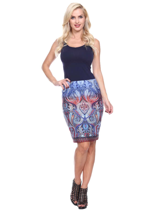 Knee Length Fitted Pencil Skirt - Blue - Front