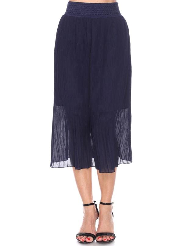 Elastic Waistband Pleated Midi Skirt