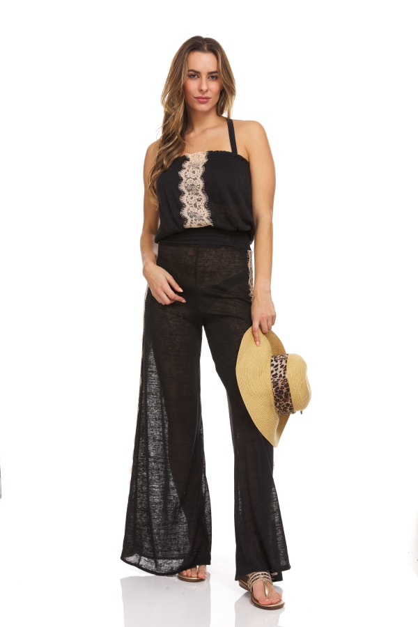 Strapless Lace Trim Beach Cover Up Jumpsuit