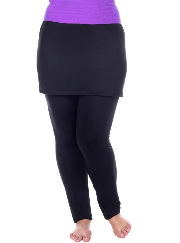 Form Fit Soft Skirted Leggings - Plus - Black - Front