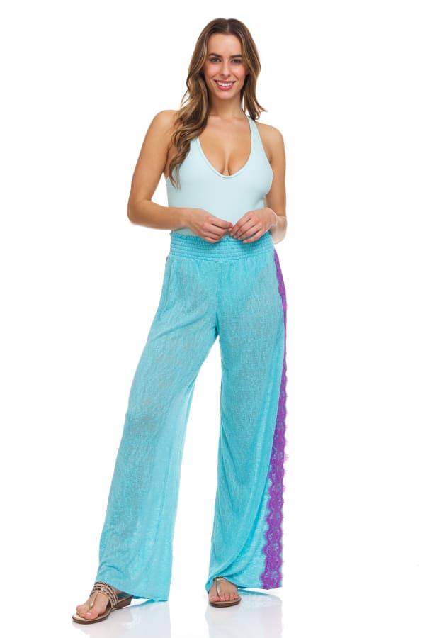 Lace Trim Pull On Pant - Aqua Blue - Front