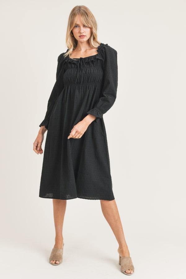 Emery Woven Dress - Black - Front