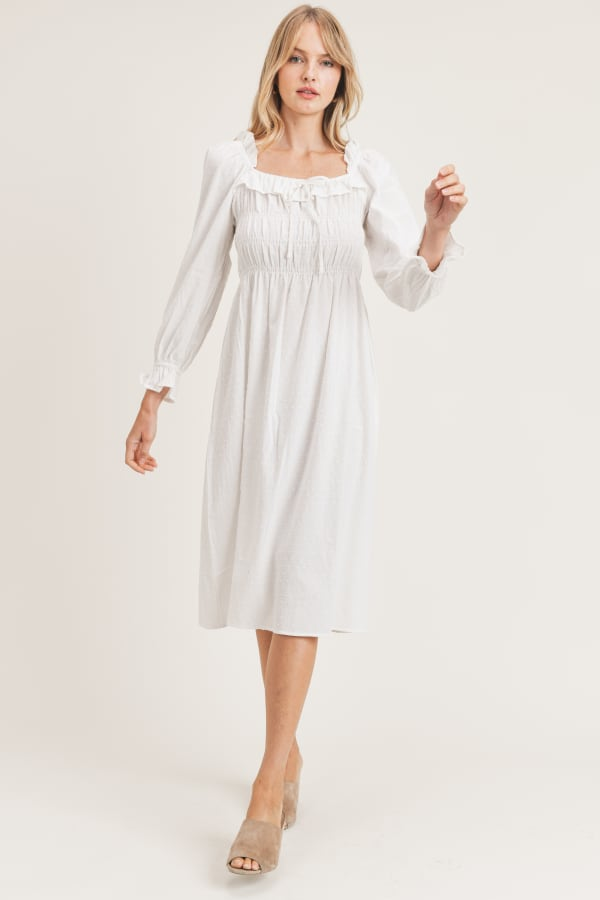 Emery Woven Dress - White - Front
