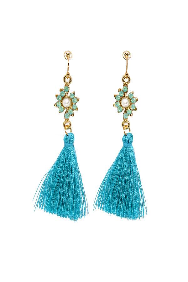Women Fashion CZ Diamond Shape Tasseled Earring - Turquoise - Front