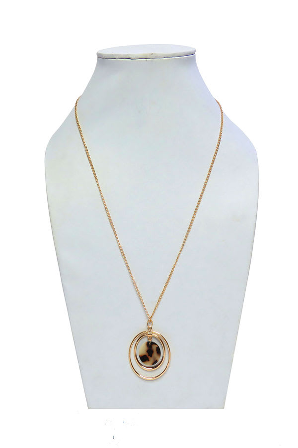 Women Tortoise Shell Long Resin Brown Chain Necklace