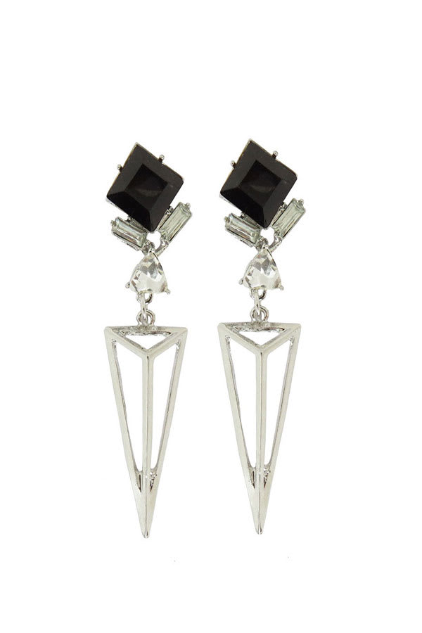 Cubic Zirconia Dangle Drop Earring - Silver - Front