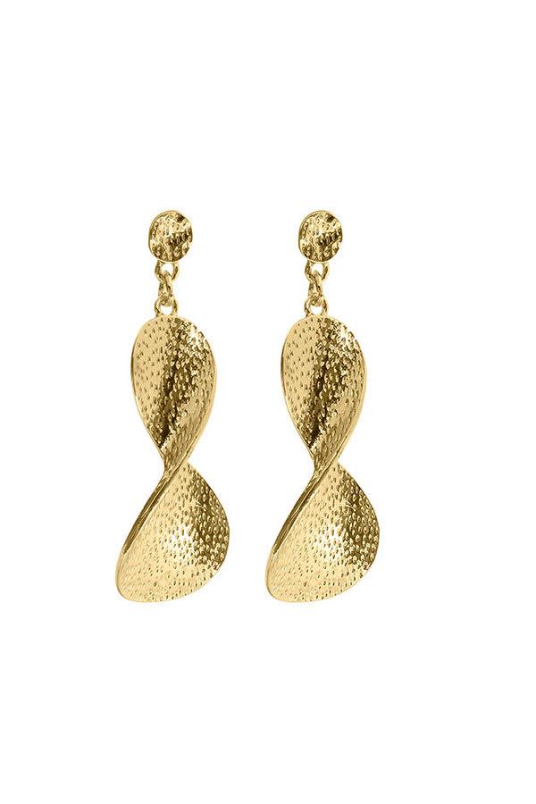 Cubic Zirconia Diamond Dangle Drop Earrings - Gold - Front