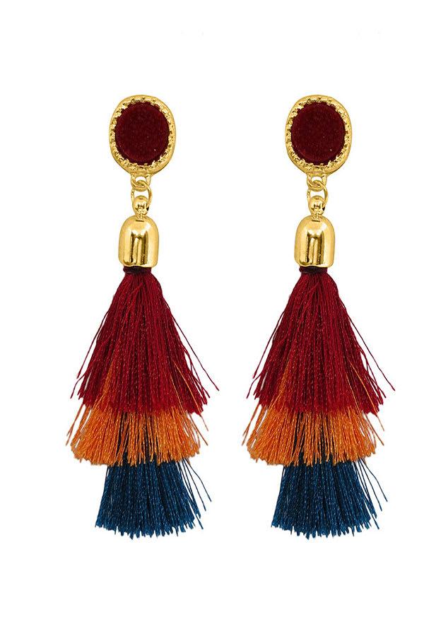 Cubic Zirconia Diamond Tassel Earrings - Red - Front