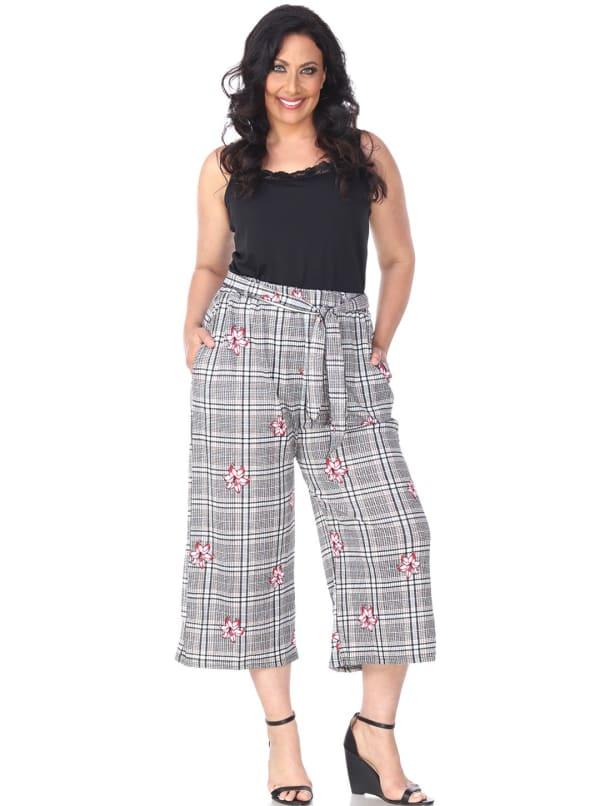 Retro Gaucho Geometric Print Pants - Plus - Red Flower - Front