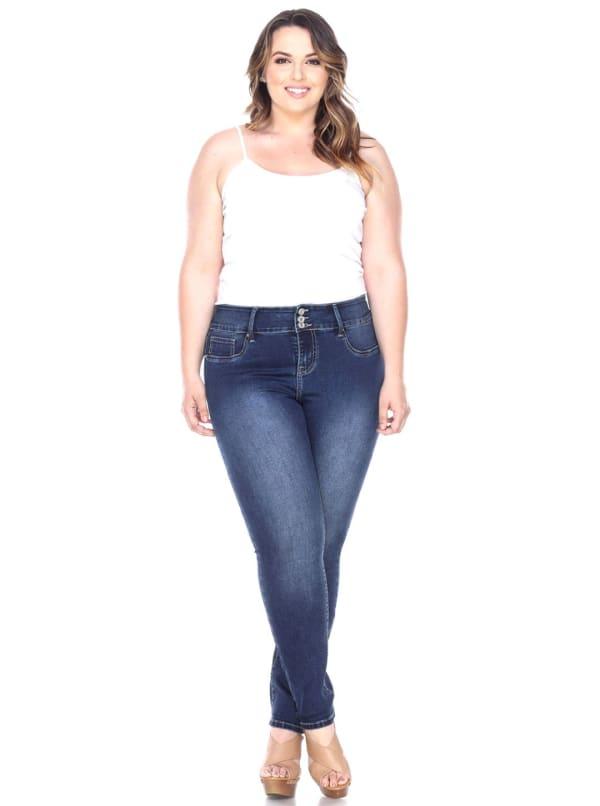 Super Stretch Faux Front Denim Pants - Plus - Dark Blue - Front