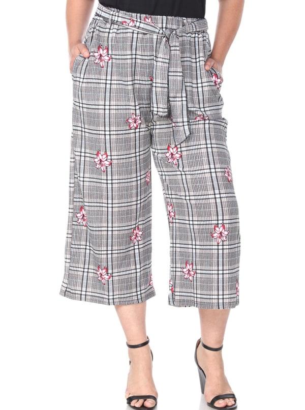 Retro Gaucho Geometric Print Pants - Plus