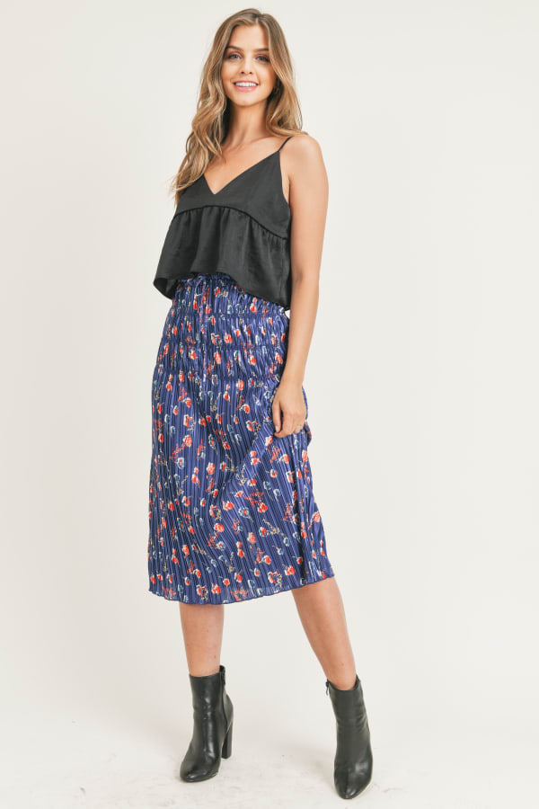 Floral Pleated Maxi Skirt - Blue Floral - Front