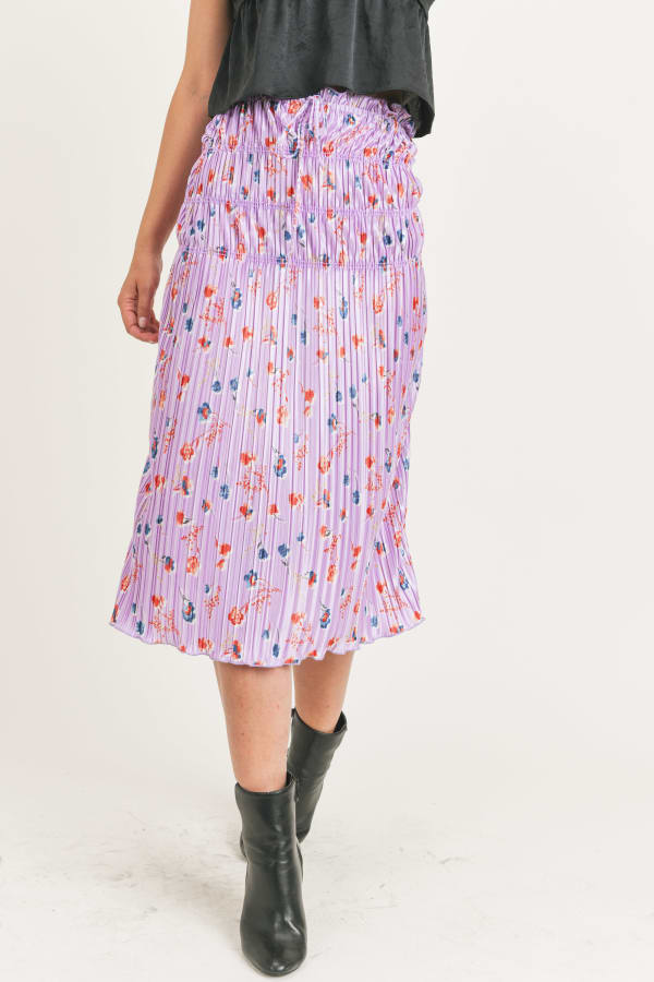 Floral Pleated Maxi Skirt - Lavender Floral - Front